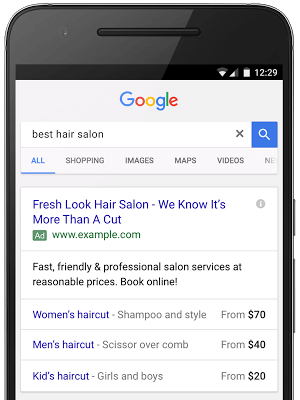 Google Ads text ads Price Extensions