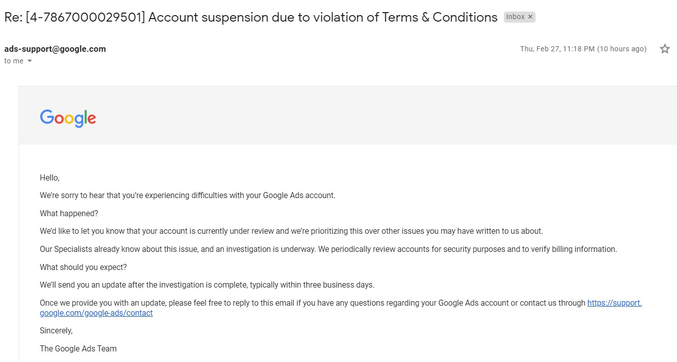 Suspended Google Ads Account Recovered