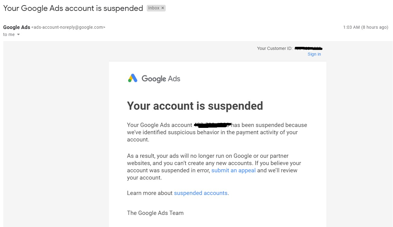 My Google Ads Account Suspended