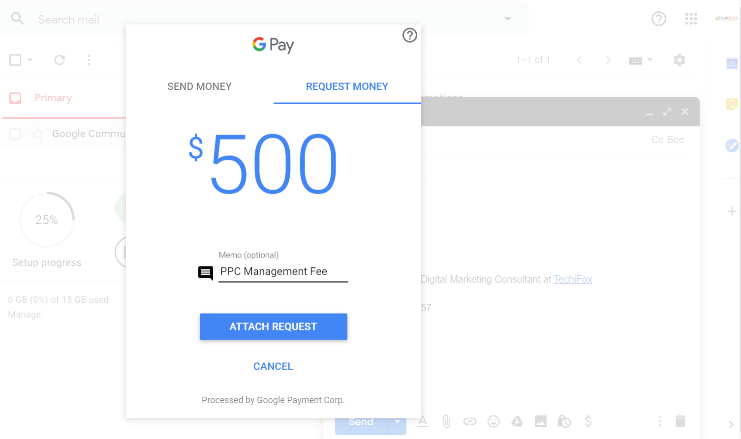 Payment Method embedded in Gmail